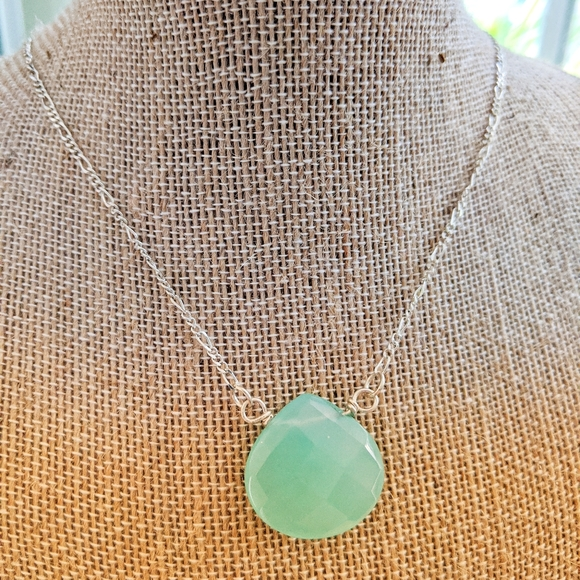 Sterling Silver Icy Aqua Chalcedony Necklace